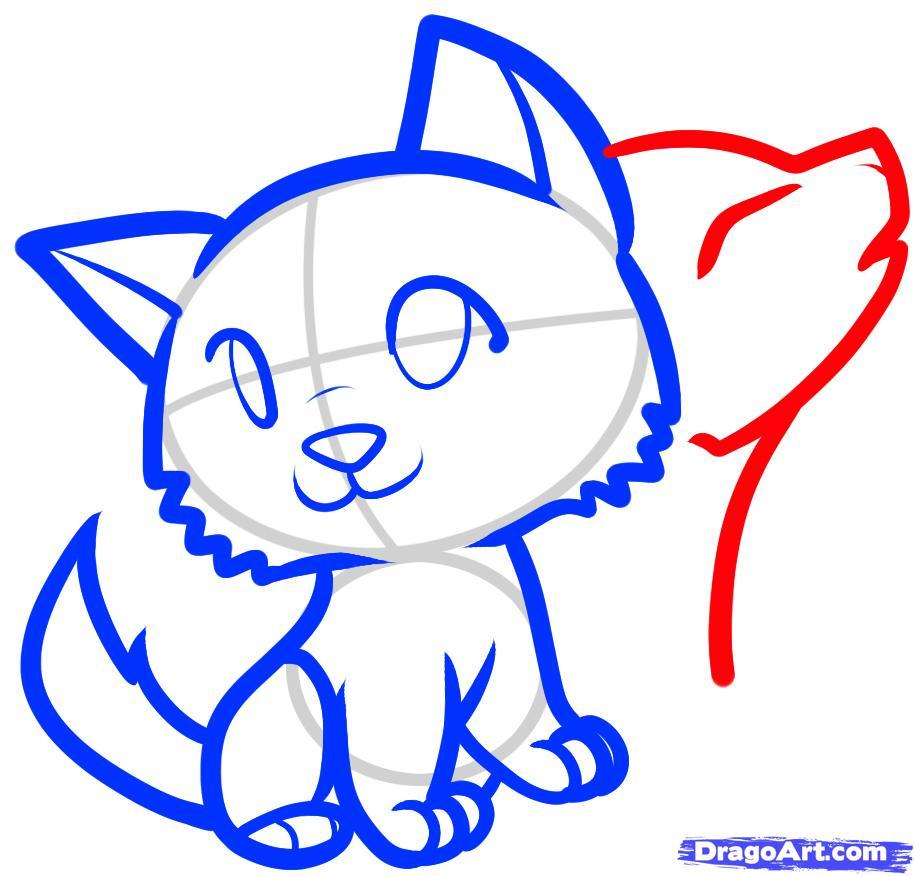 Рисуем двух Волчат ребенку - шаг 6