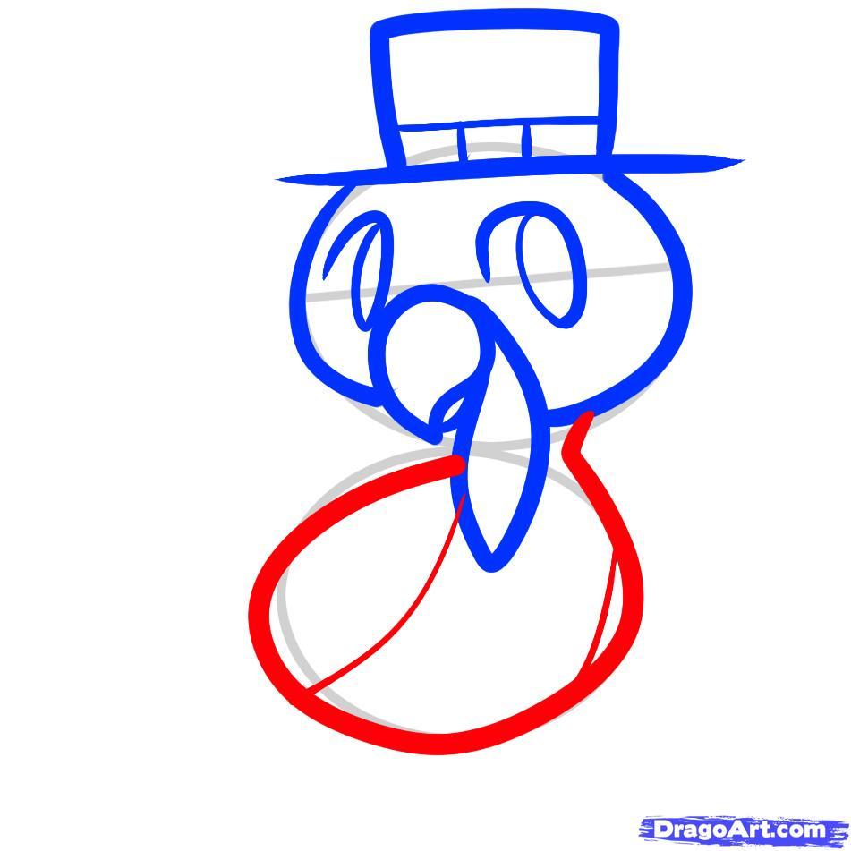 Рисуем индюшонка в шляпе ребенку - шаг 5