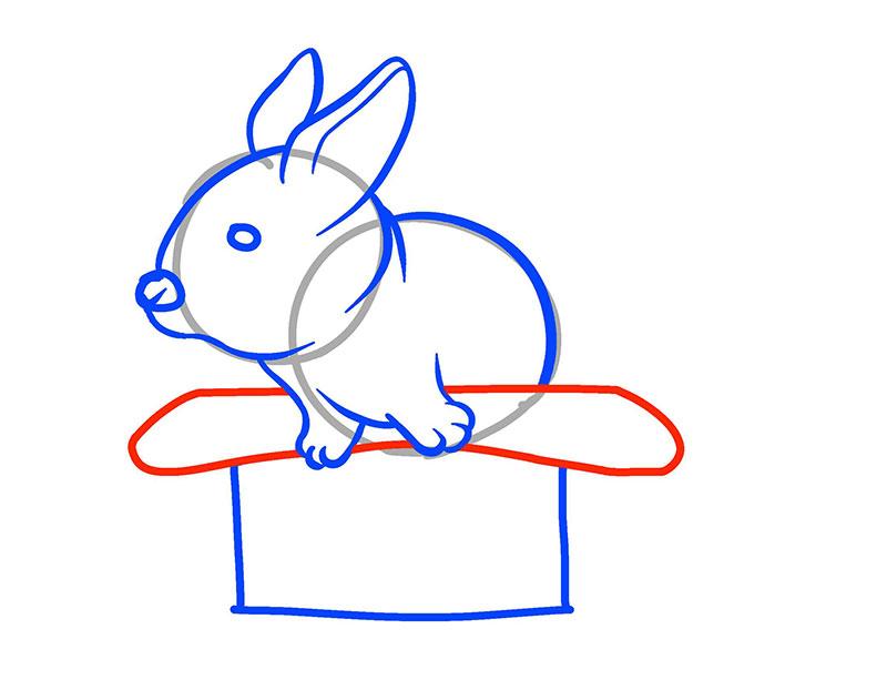 Рисуем маленького кролика в шляпе ребенку