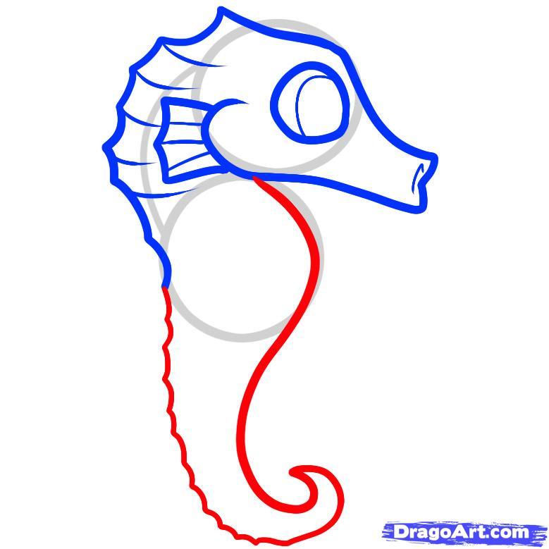 Рисуем маленького морского конька ребенку - шаг 4