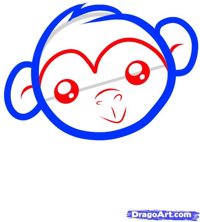 Рисуем обезьяну ребенку - шаг 3