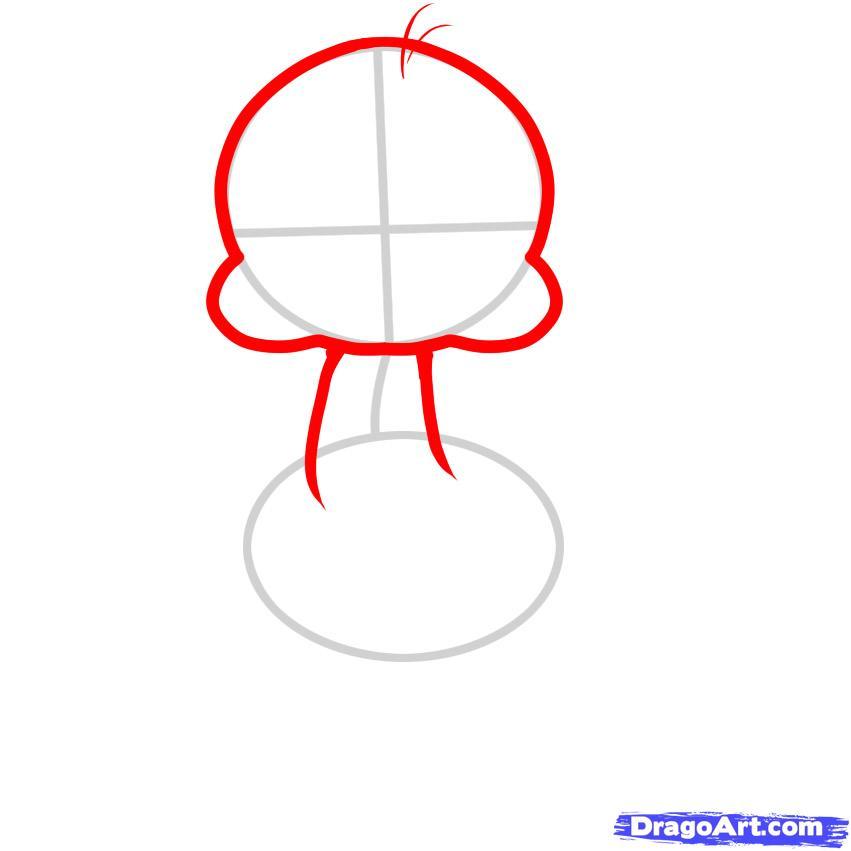 Рисуем маленького Страуса ребенку
