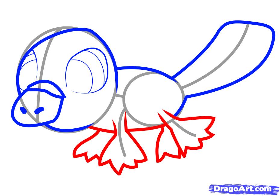 Рисуем утконоса   для детей - шаг 5