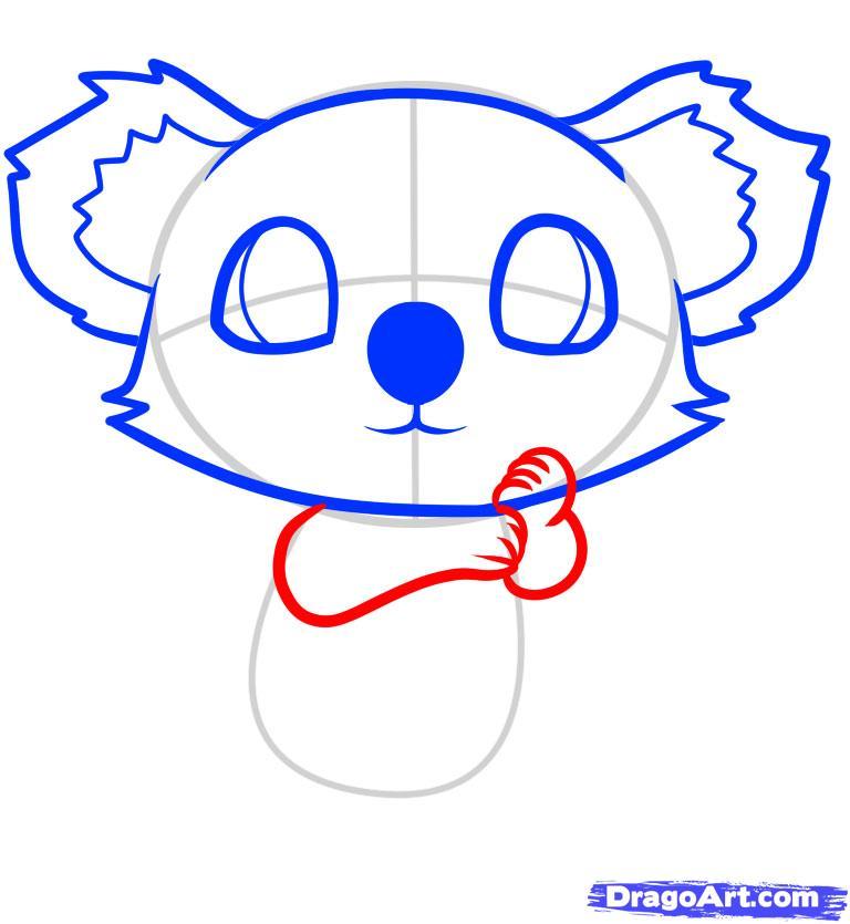 Рисуем маленькую коалу на дереве ребенку - шаг 6