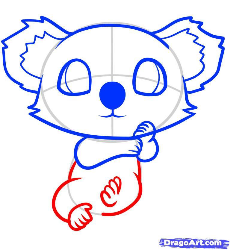 Рисуем маленькую коалу на дереве ребенку - шаг 7