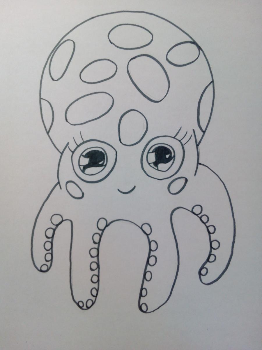 Рисуем милого осьминога ребенку - шаг 6