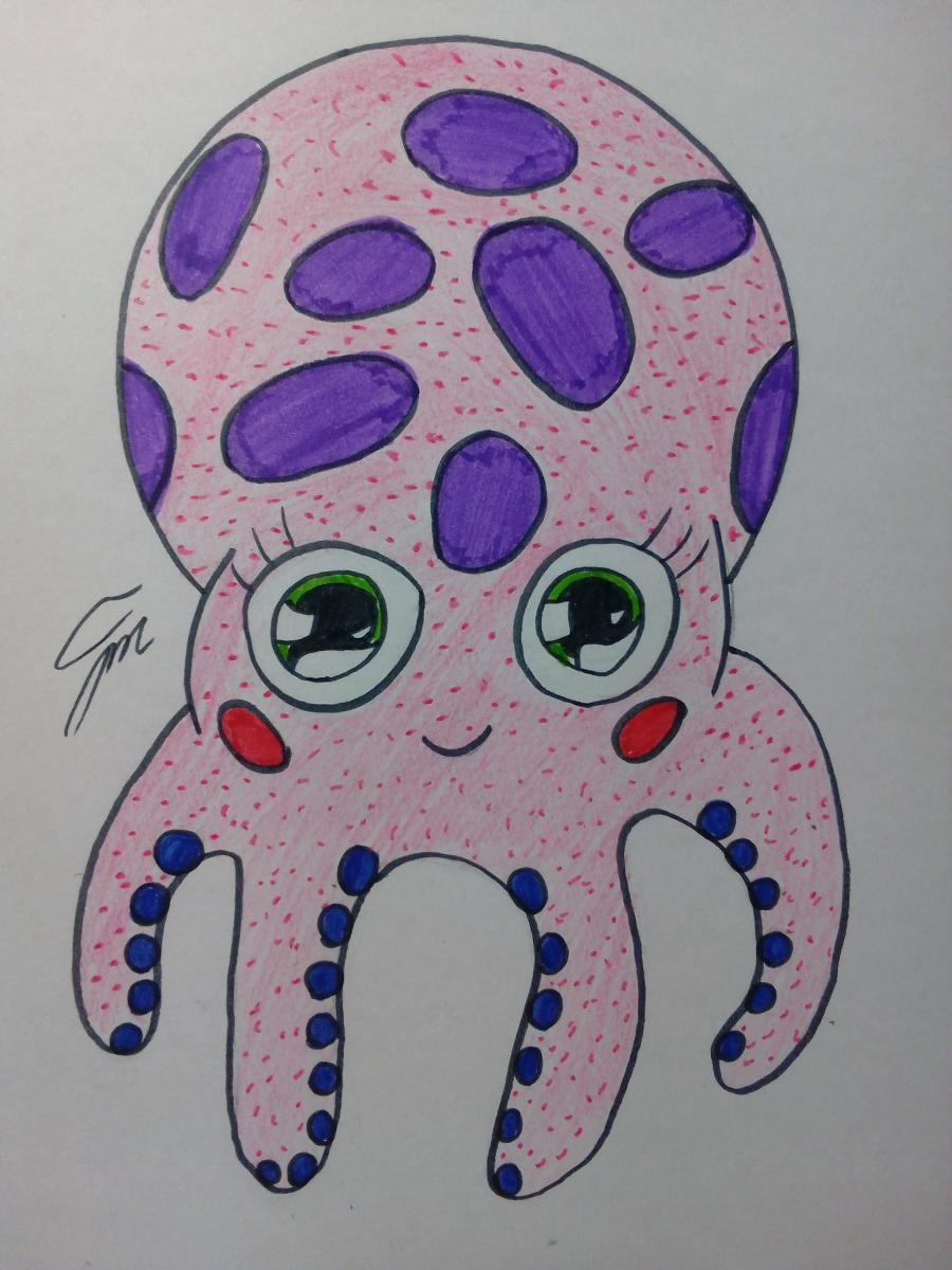 Рисуем милого осьминога ребенку - шаг 7