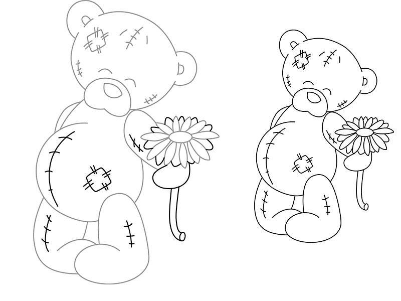 Рисуем мишку Тедди с цветком - шаг 2