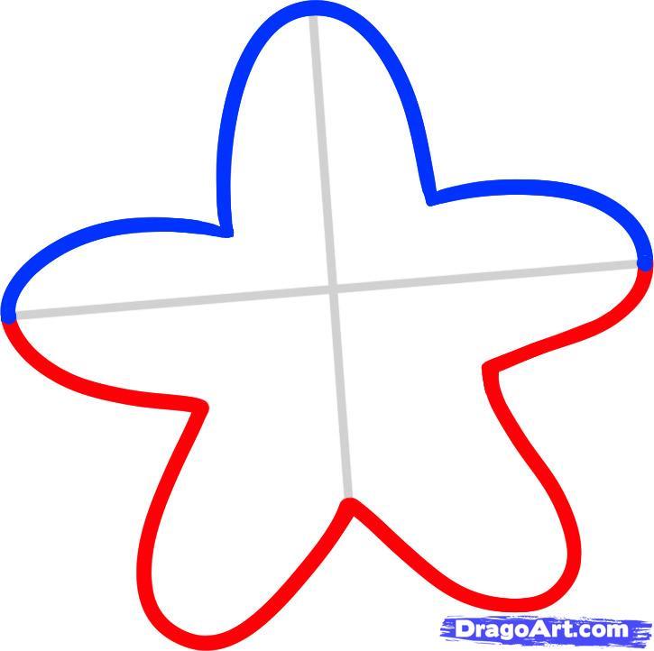Рисуем морскую звезду ребенку - шаг 3