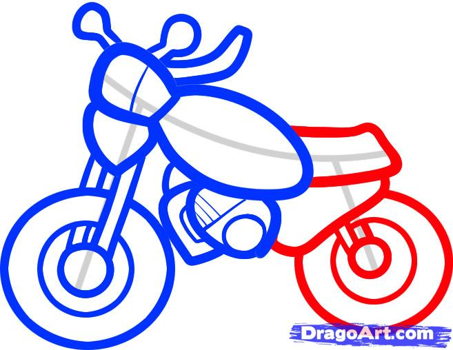 Рисуем мотоцикл ребенку - шаг 6