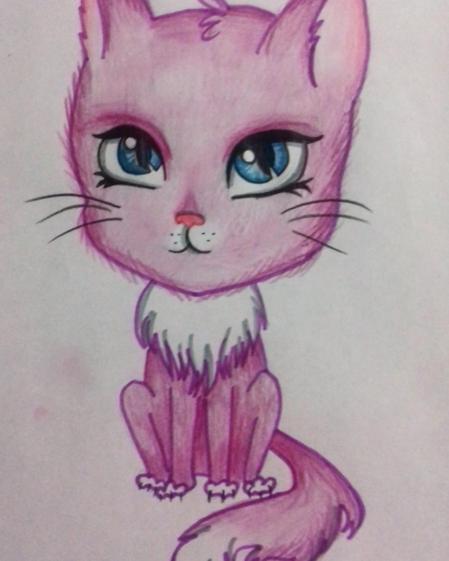 kak_narisovat_multyashnogo_kotika_detyam_pojetapno-8 Как нарисовать котенка с милыми глазками поэтапно карандашом для детей и начинающих? Как нарисовать котенка аниме, вислоухого, сиамского, спящего?