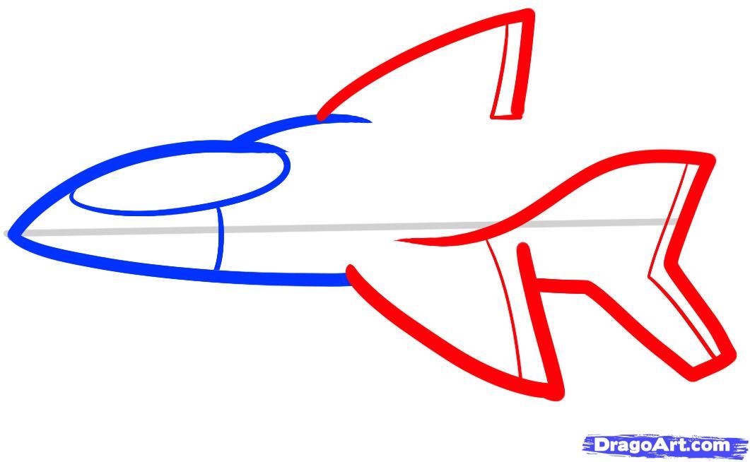 Рисуем самолет ребенку - шаг 4