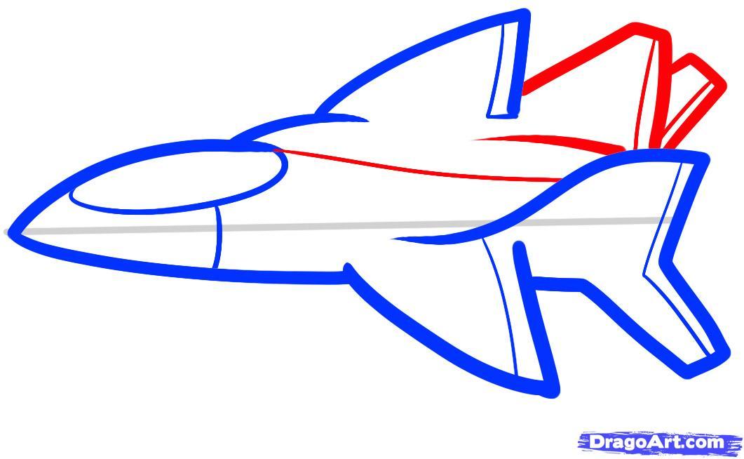 Рисуем самолет ребенку - шаг 5
