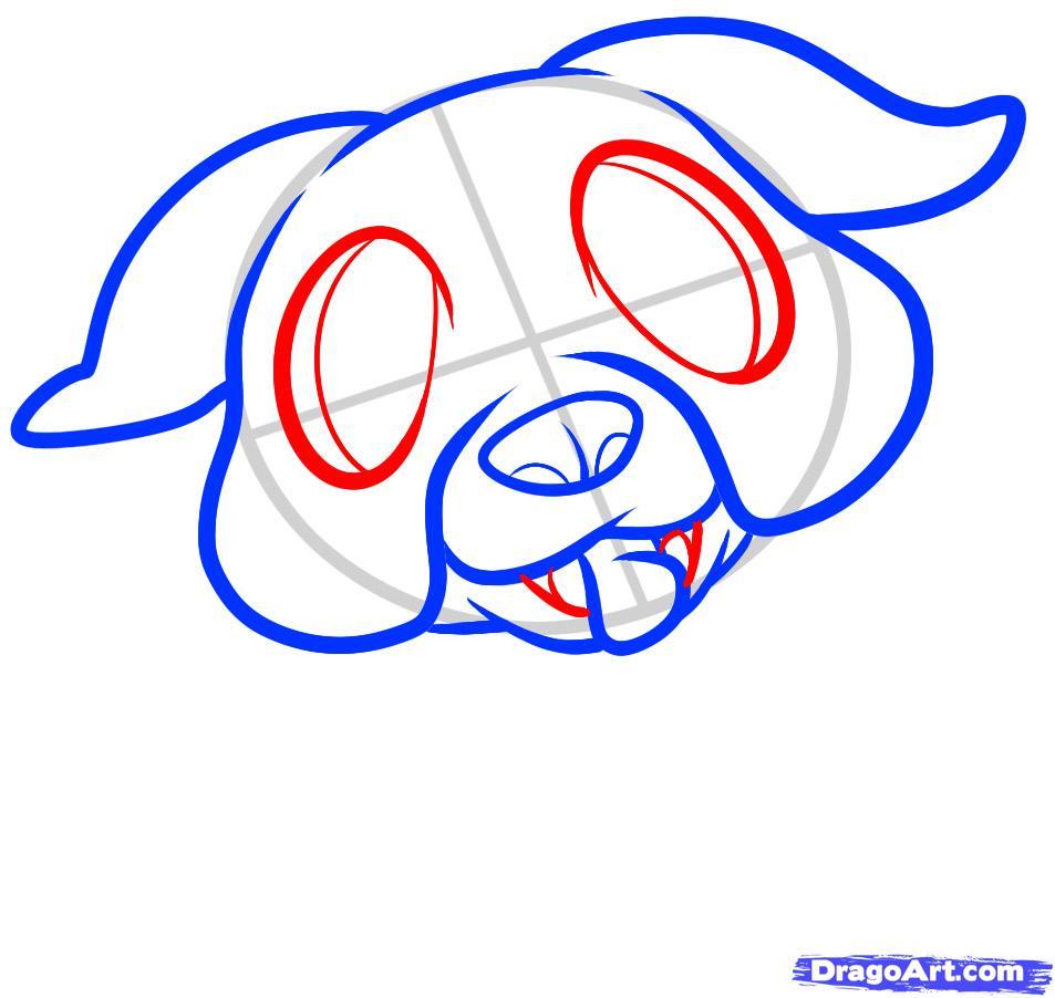 Рисуем щенка бульдога ребенку - шаг 4