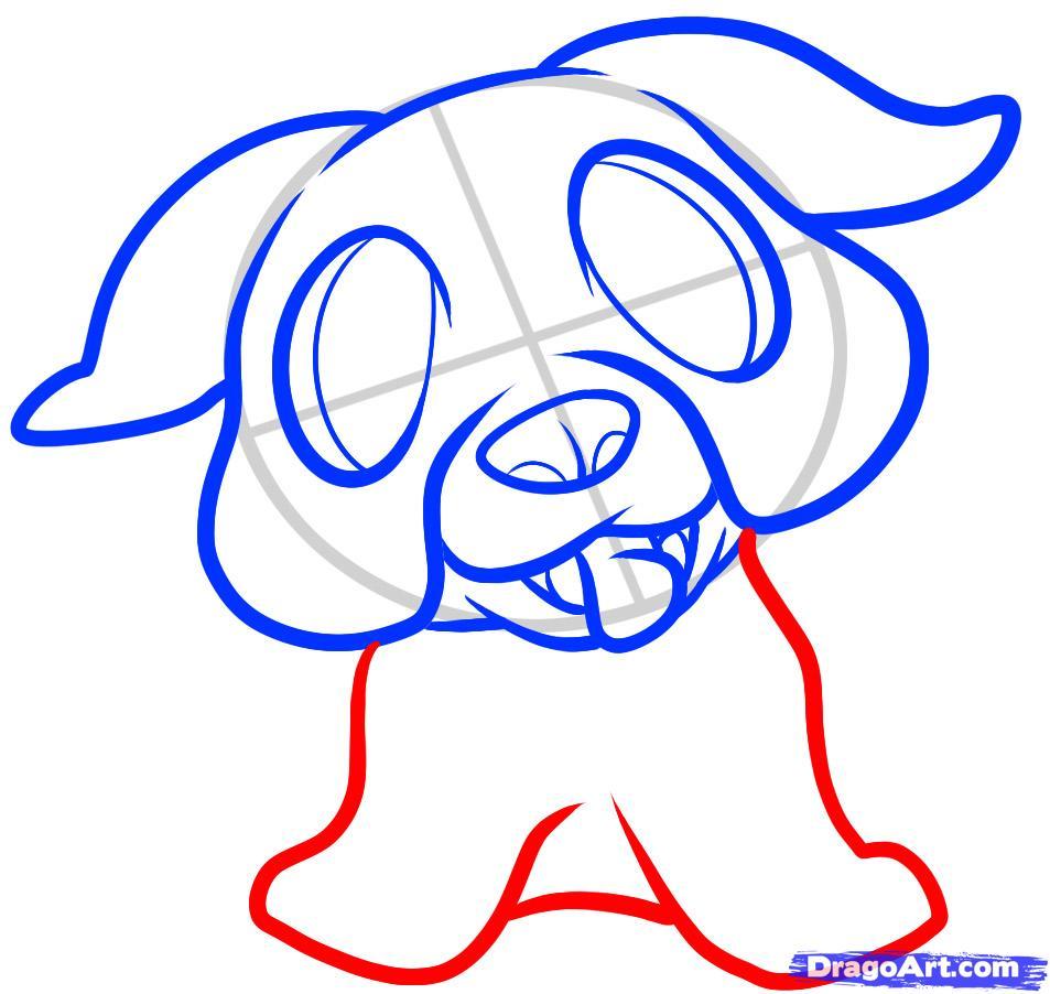 Рисуем щенка бульдога ребенку - шаг 5