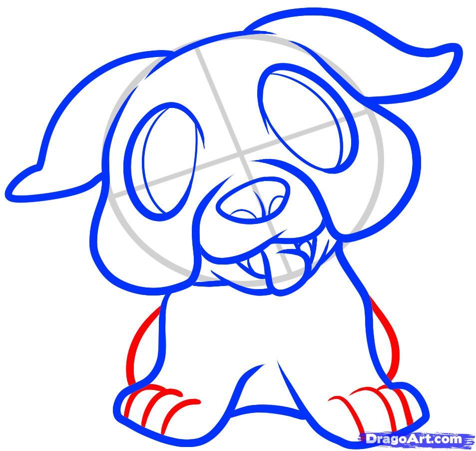 Рисуем щенка бульдога ребенку - шаг 6