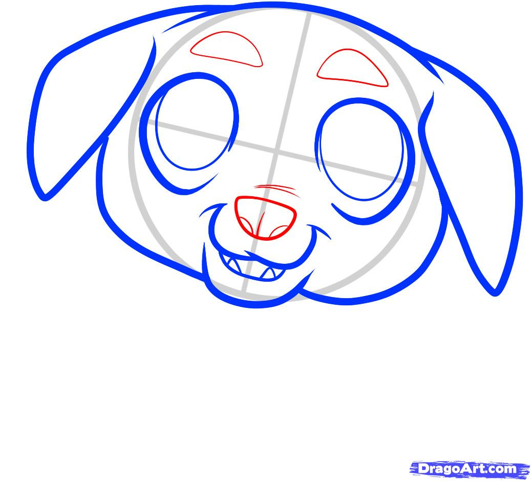 Рисуем щенка ротвейлера ребенку - шаг 4