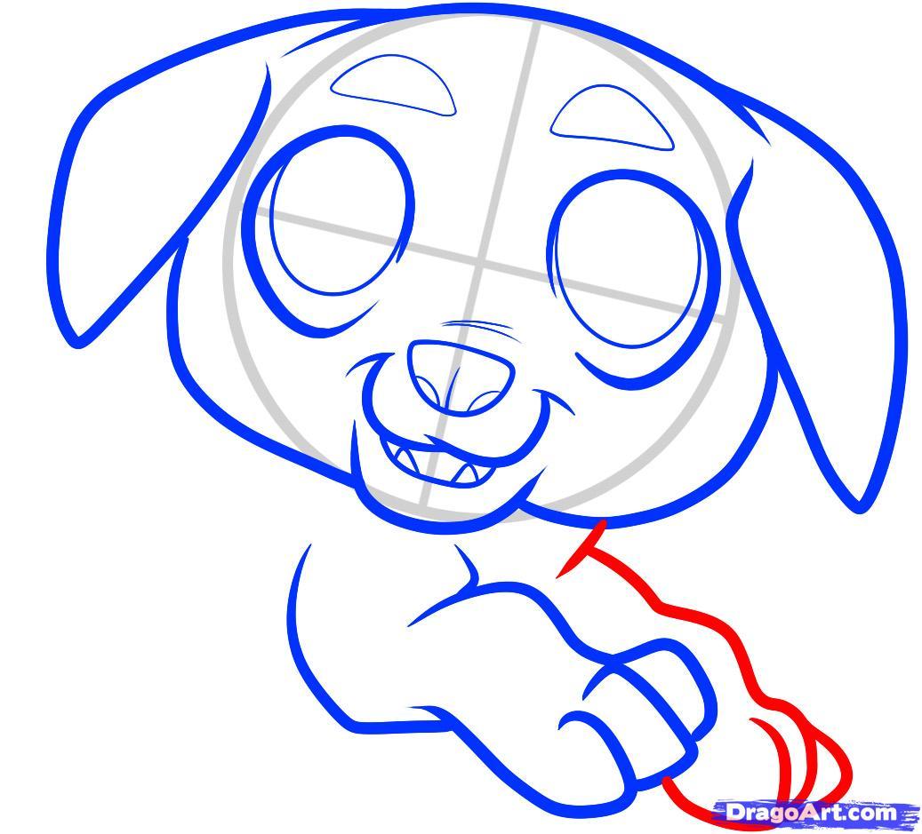 Рисуем щенка ротвейлера ребенку - шаг 6