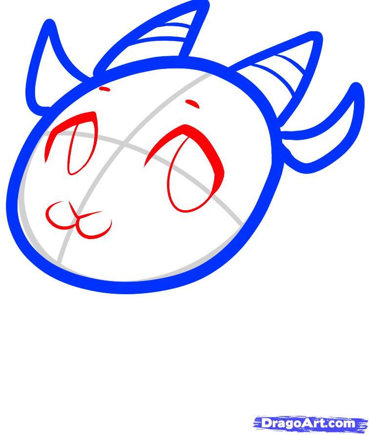 Рисуем симпатичную козочку ребенку