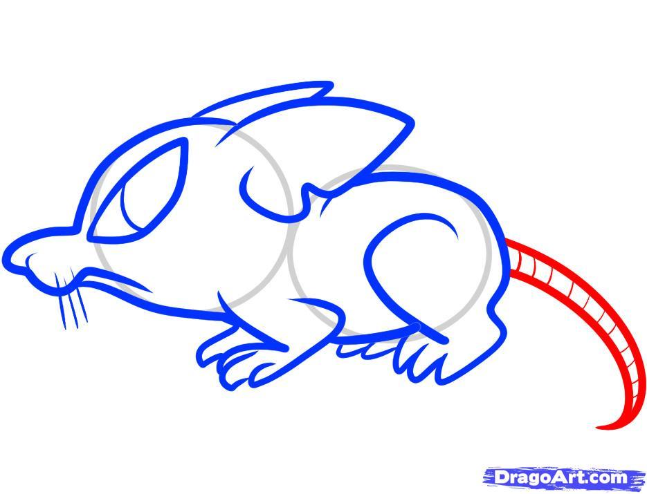 Рисуем симпатичную крысу ребенку - шаг 7