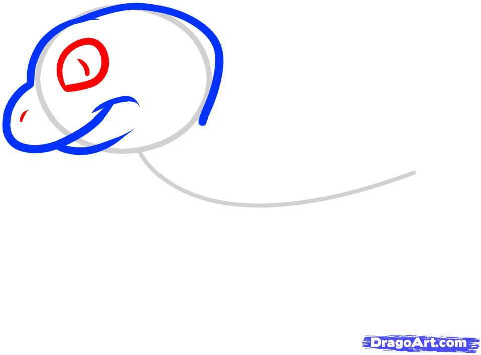 Рисуем ящерицу ребенку - шаг 3