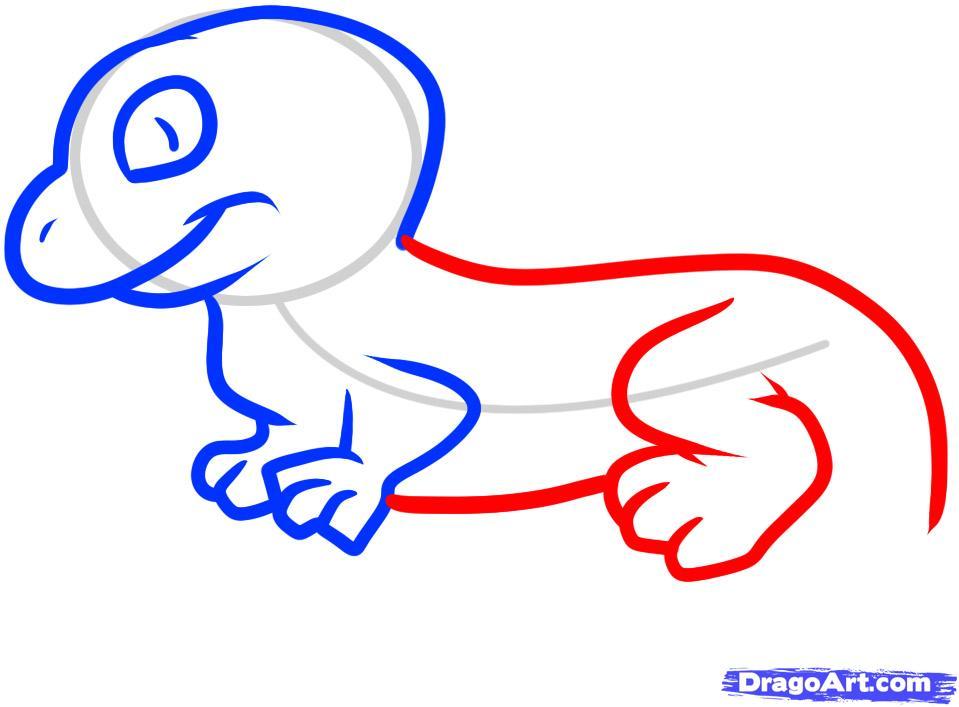 Рисуем ящерицу ребенку - шаг 5