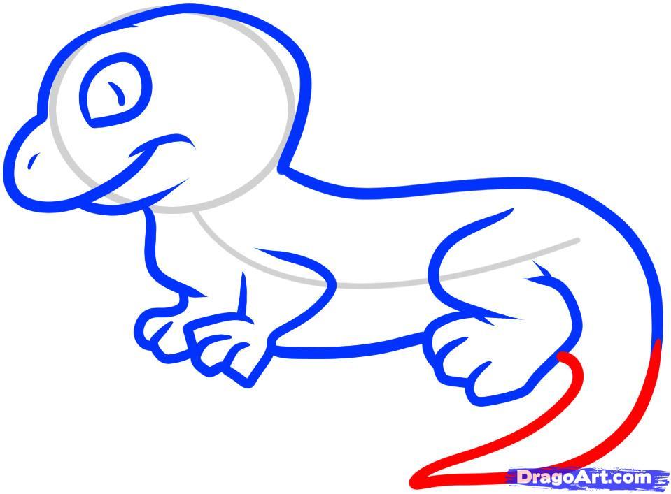 Рисуем ящерицу ребенку - шаг 6
