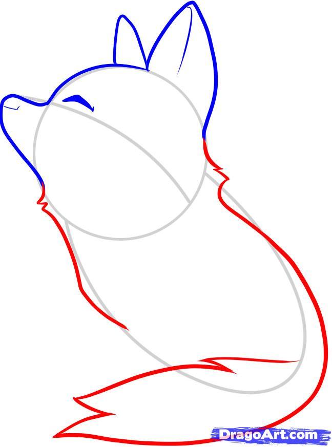 Рисуем воющего волченка ребенку - шаг 4