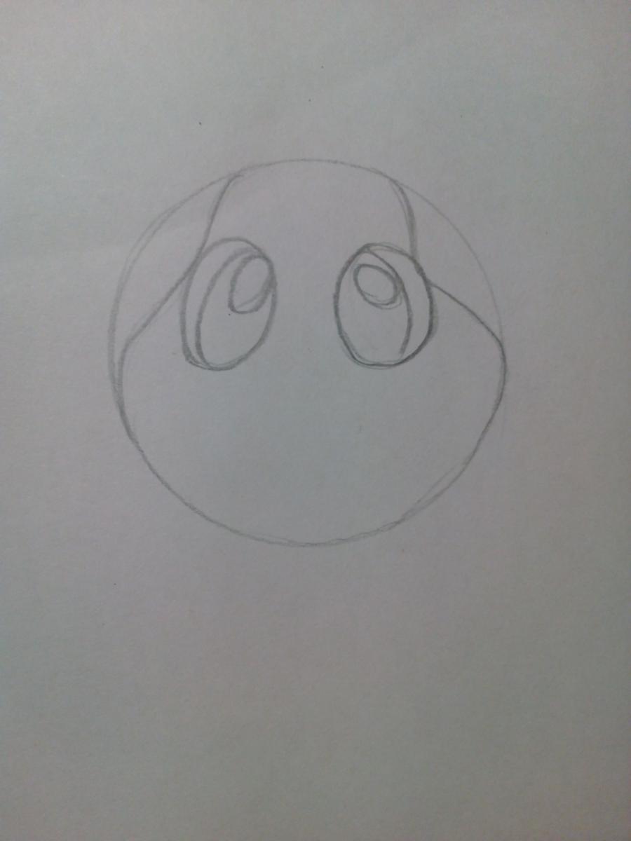 Рисуем зайчонка ребенку карандашами - шаг 2