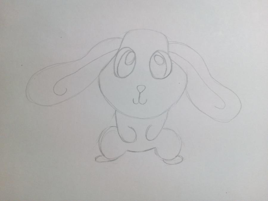 Рисуем зайчонка ребенку карандашами - шаг 5