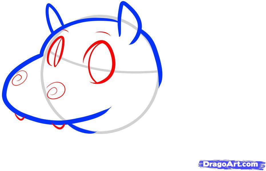 Как просто нарисовать Бегемотика ребенку - шаг 3