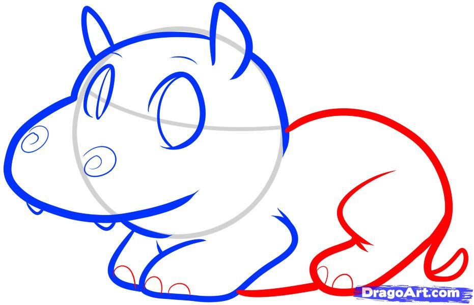 Как просто нарисовать Бегемотика ребенку - шаг 5