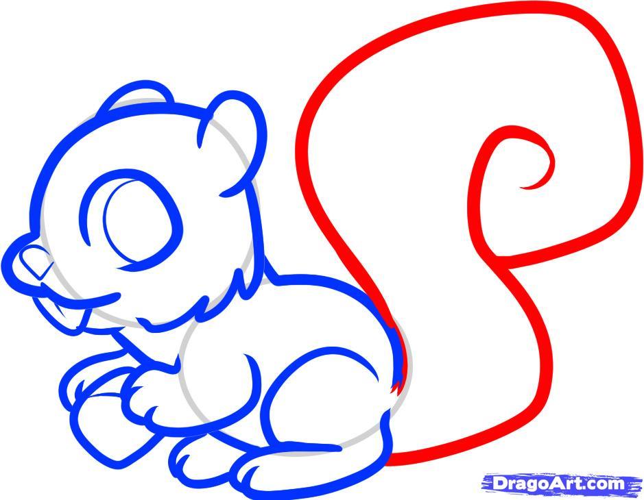 Как просто нарисовать белочку с орехом ребенку