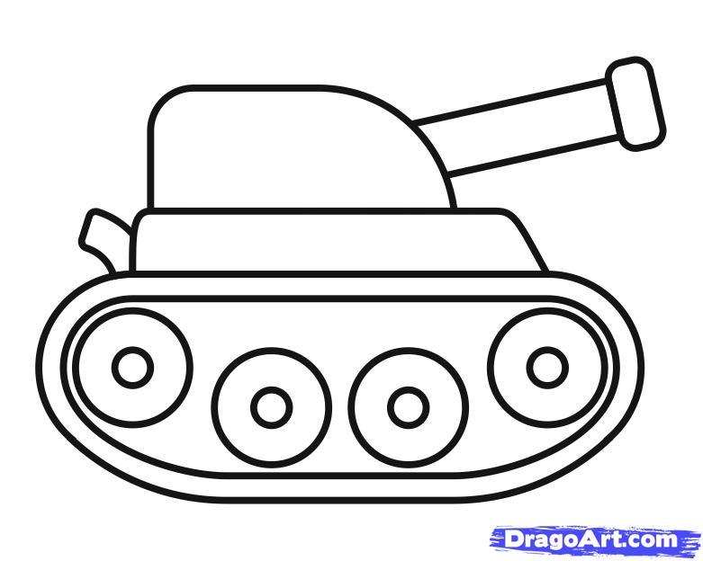 Как просто нарисовать танк ребенку - шаг 10