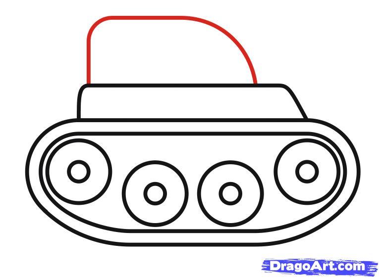 Как просто нарисовать танк ребенку - шаг 7