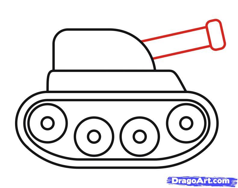Как просто нарисовать танк ребенку - шаг 8