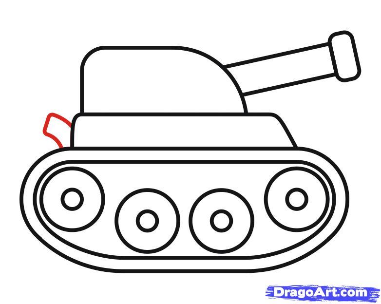 Как просто нарисовать танк ребенку - шаг 9