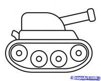 Фото танк ребенку карандашом