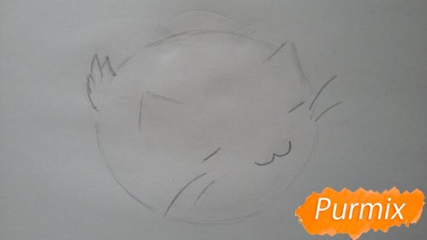 risuem-puhlenkogo-kotika-rebenku-pojetapno-4 Как нарисовать котенка с милыми глазками поэтапно карандашом для детей и начинающих? Как нарисовать котенка аниме, вислоухого, сиамского, спящего?