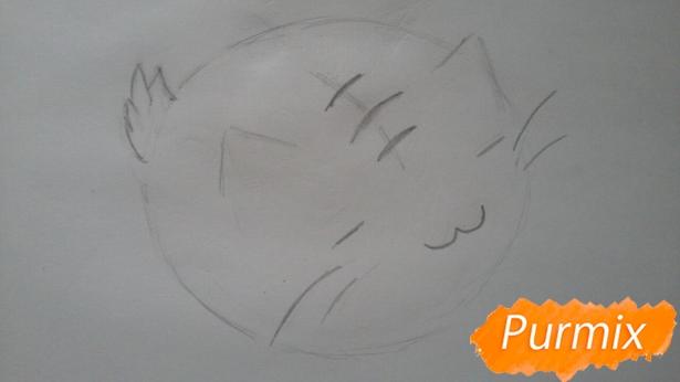 risuem-puhlenkogo-kotika-rebenku-pojetapno-5 Как нарисовать котенка с милыми глазками поэтапно карандашом для детей и начинающих? Как нарисовать котенка аниме, вислоухого, сиамского, спящего?