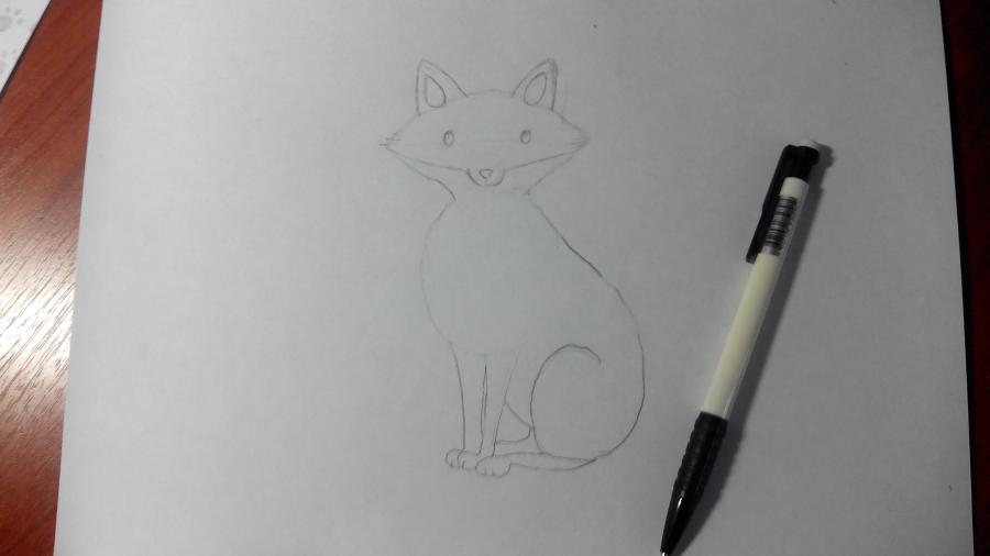 Рисуем и раскрашиваем лисичку в шарфике  детям (подробный урок) - шаг 10