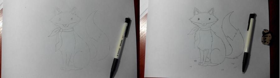 Рисуем и раскрашиваем лисичку в шарфике  детям (подробный урок) - шаг 13