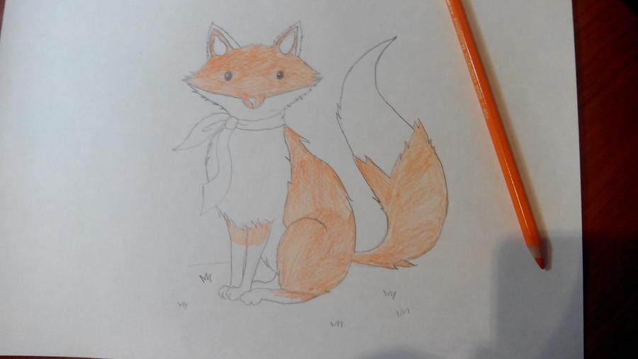 Рисуем и раскрашиваем лисичку в шарфике  детям (подробный урок) - шаг 14