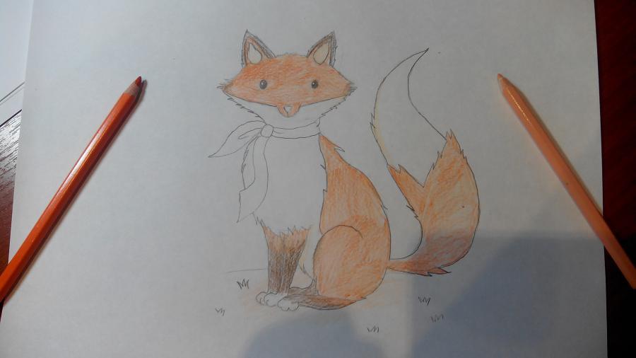Рисуем и раскрашиваем лисичку в шарфике  детям (подробный урок) - шаг 16