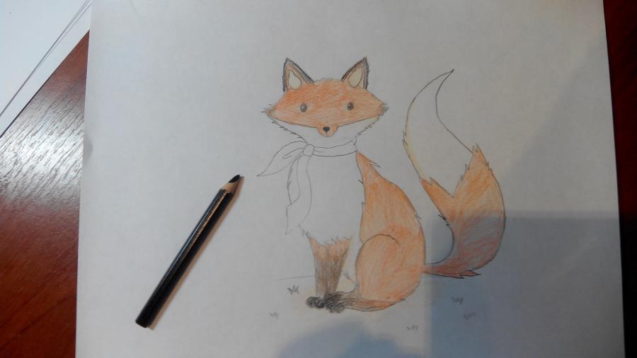 Рисуем и раскрашиваем лисичку в шарфике  детям (подробный урок) - шаг 17