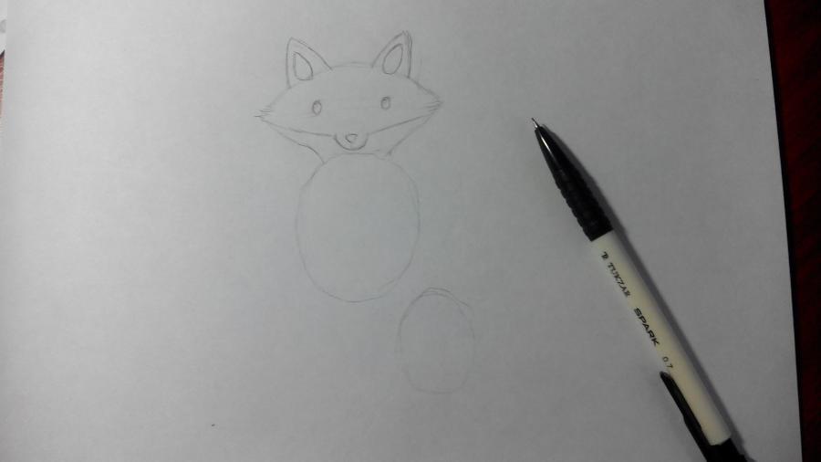 Рисуем и раскрашиваем лисичку в шарфике  детям (подробный урок) - шаг 7