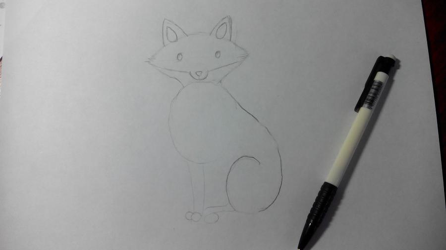 Рисуем и раскрашиваем лисичку в шарфике  детям (подробный урок) - шаг 9