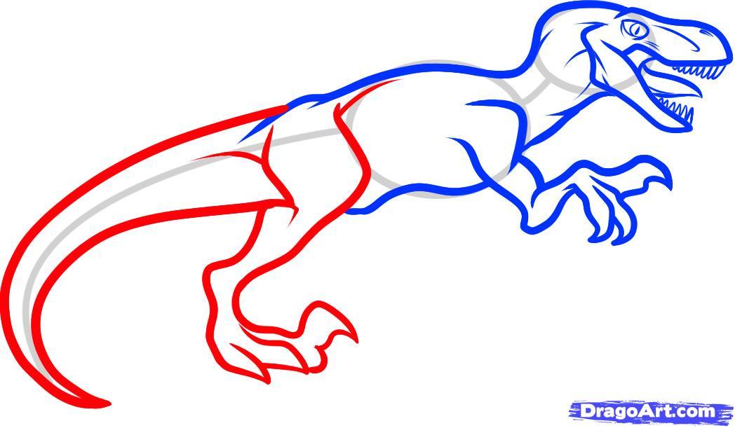 Рисуем динозавра Велоцираптора - шаг 5