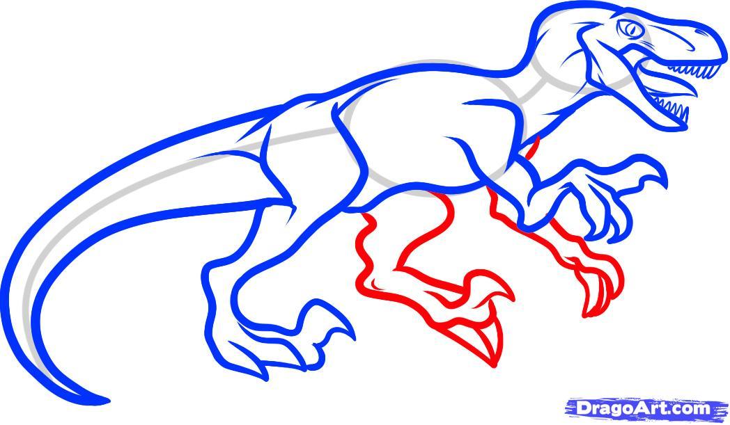 Рисуем динозавра Велоцираптора - шаг 6