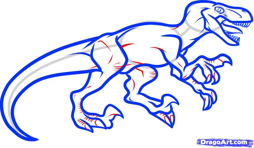 Рисуем динозавра Велоцираптора - шаг 7